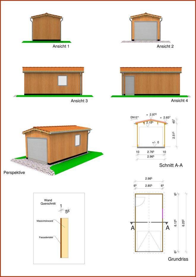 Einfachgarage in Monoblock Holzbauweise mit Satteldach