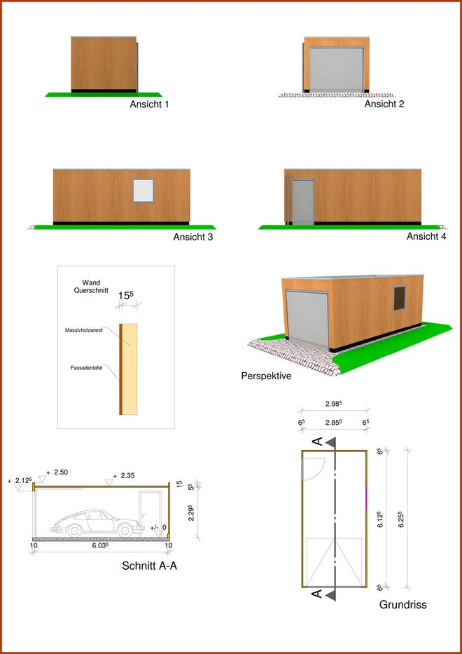 Einfachgarage in Monoblock Holzbauweise mit Flachdach