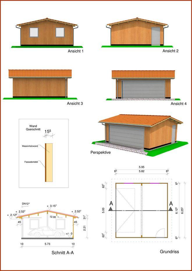 Doppelgarage in Monoblock Holzbauweise mit Satteldach