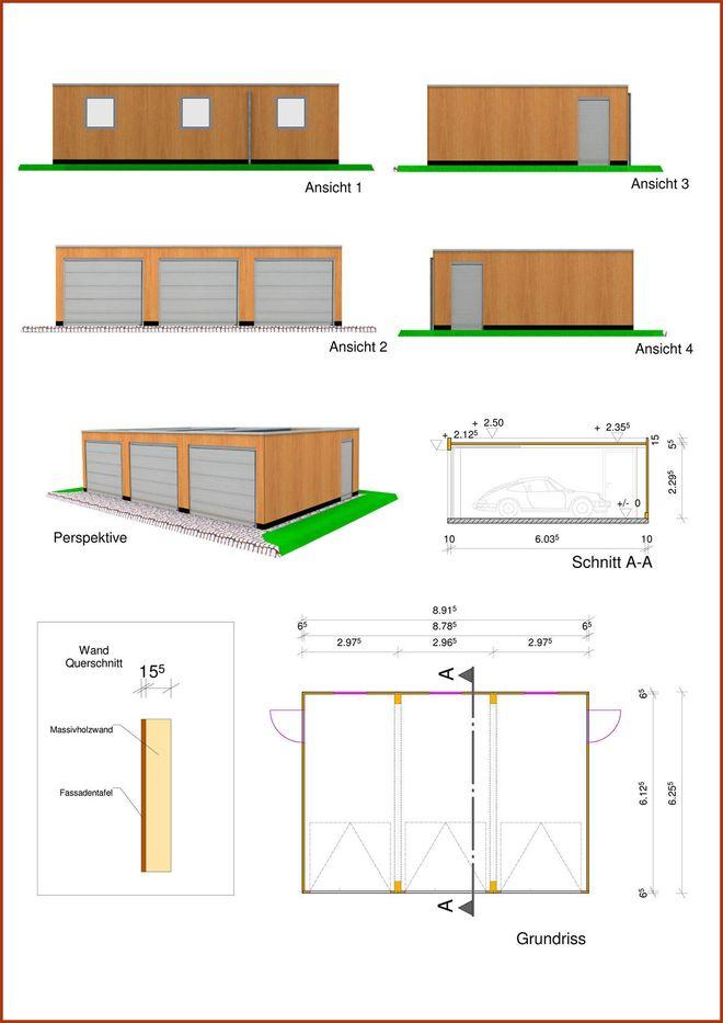 Dreifachgarage in Monoblock Holzbauweise mit Flachdach