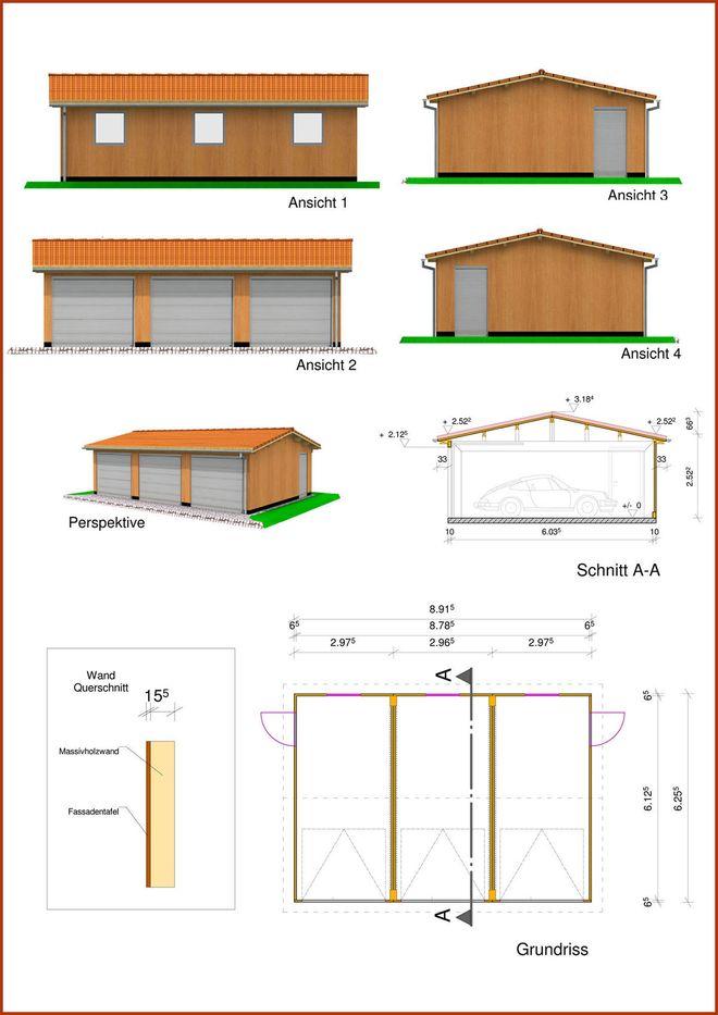 Dreifachgarage in Monoblock Holzbauweise mit Satteldach