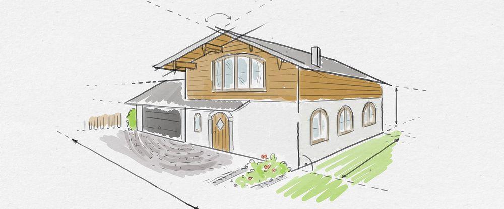 Eine Illustration eines rustikalen Familienhauses aus Holz mit illustrativen Planungselementen