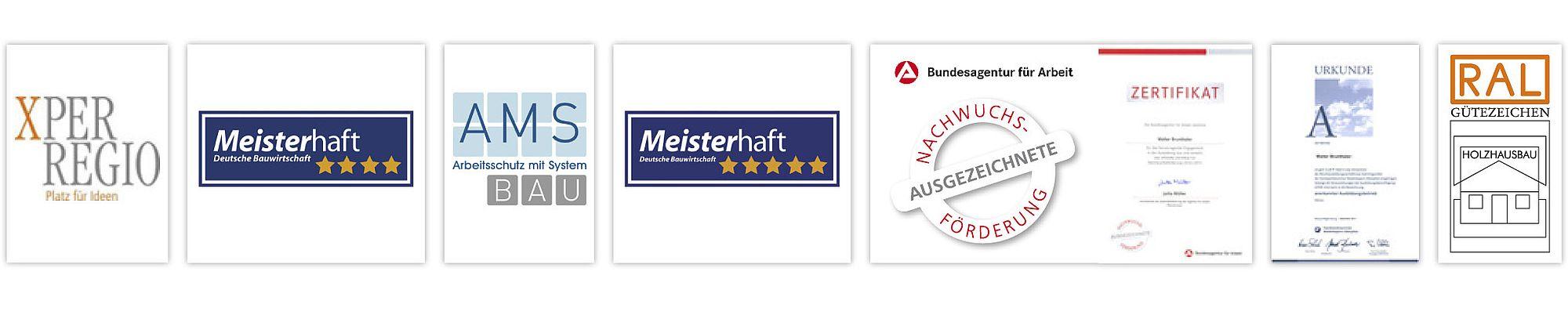 Brunthaler erhält Auszeichnungen zu folgenden Themen: Meisterhaft bauen, Nachwuchsförderung, Arbeitsschutz mit System und Xper Regio.