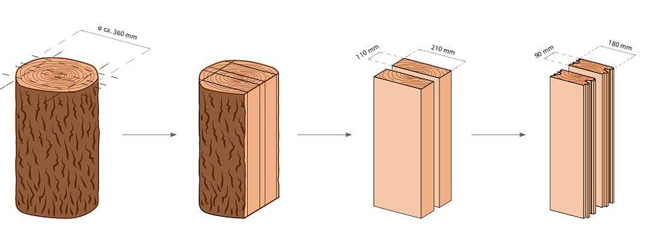 Grafik vom Baum zum Monoblock Balken. Die Entstehung von Monoblock Holzbalken.
