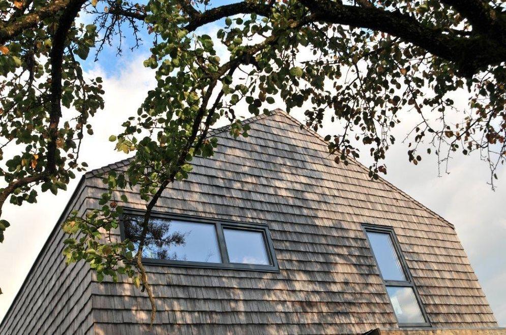 Ansicht der Holzfassade © Brunthaler Massivholzhaus