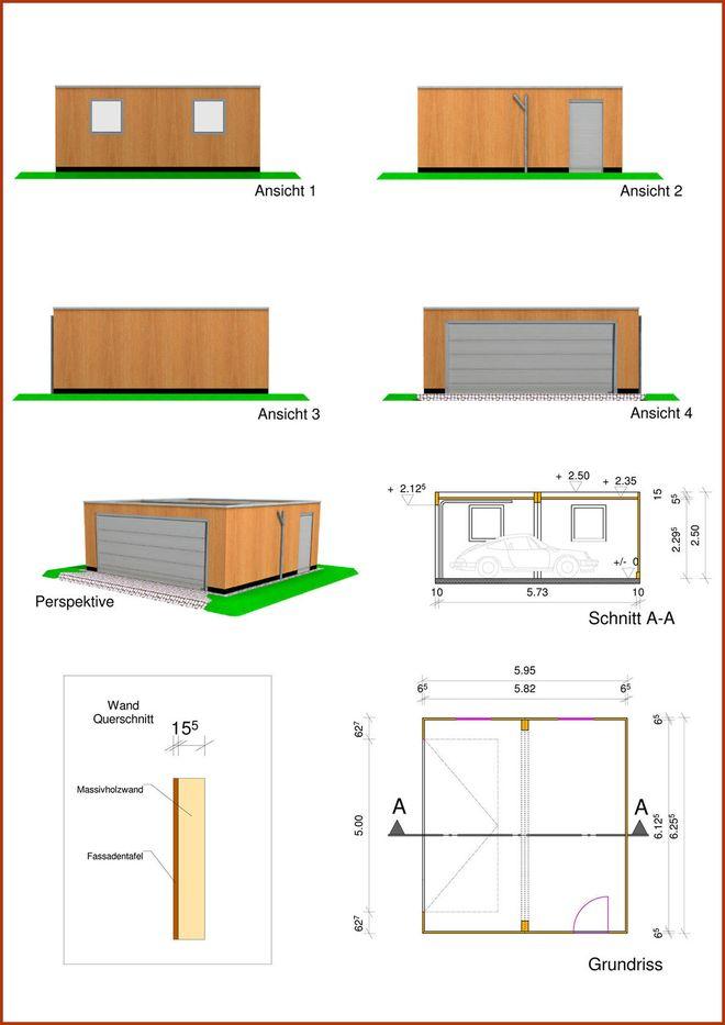Doppelgarage in Monoblock Holzbauweise mit Flachdach