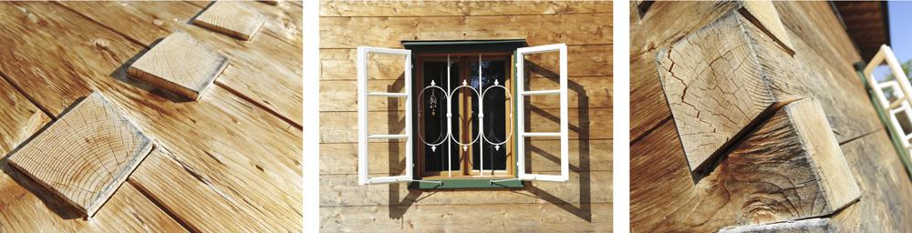 Fassaden beim Holzhaus in rustikaler Blockbohlen-Optik.
