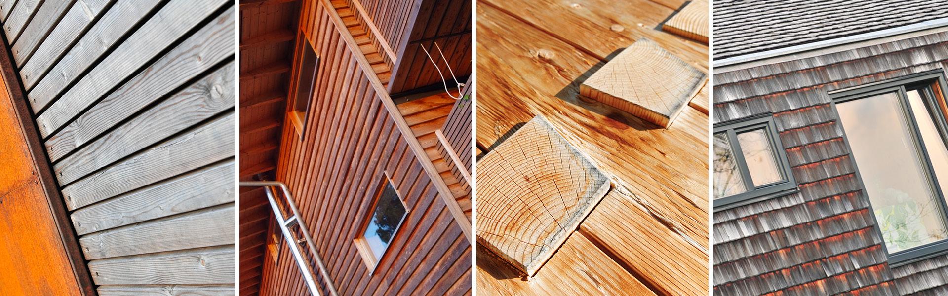 Foto-Collage aus verschiedenen Holzfassaden, die durch unterschiedliches Alter, Standorte, Holzarten und andere Einflüsse unterschiedliche visuelle Charakteristiken entwickelt haben.