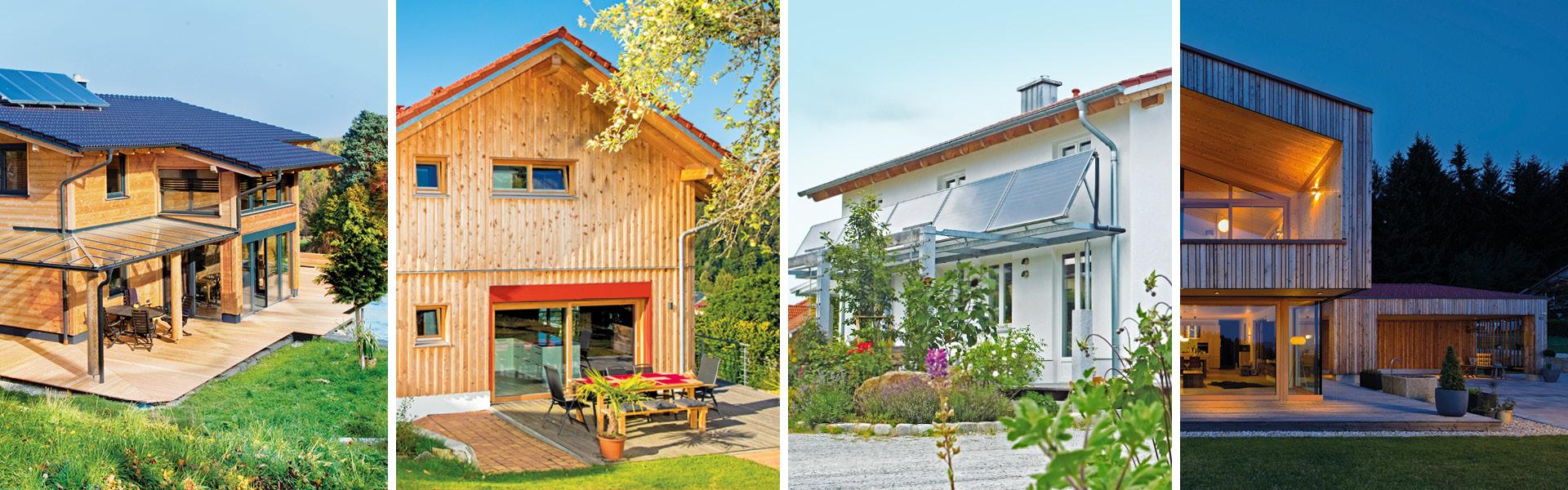 Foto-Collage aus vier Massivholzhäusern mit unterschiedlichem Aussehen und Fassadengestaltung