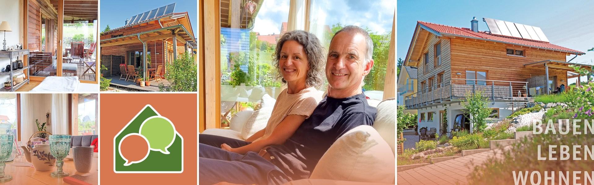 Foto-Collage von Bildern aus dem BaumHaus der Familie Meisinger und die Familie auf der Couch im gemütlichen Wohnzimmer.