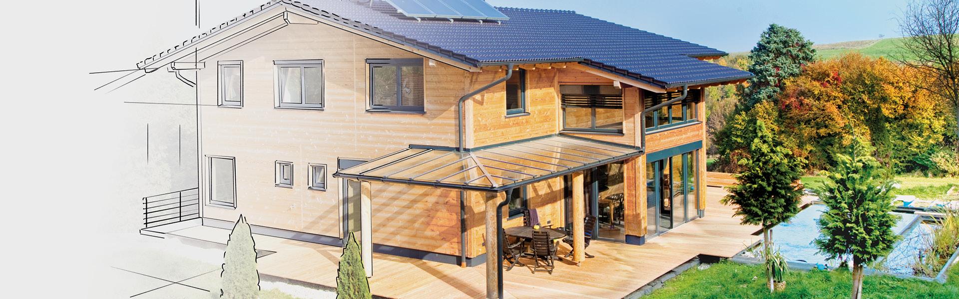 Ein Foto eines Massivholzhauses, das teilweise gezeichnet ist.
