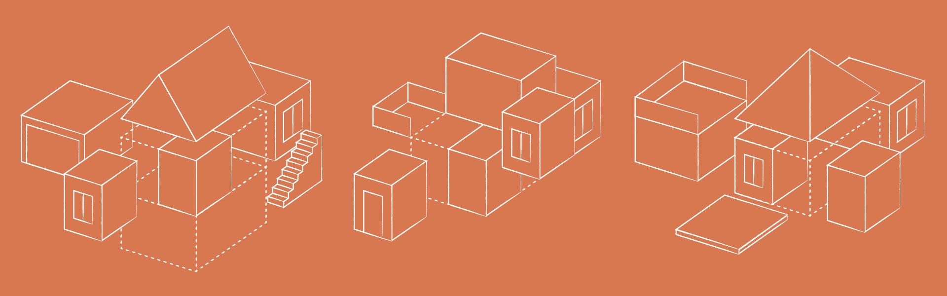 Illustrierte Darstellung mehrerer Auswahlvarianten bei Häusern über Garagen, verschieden Dächer, Ausstattungen, Keller, etc.