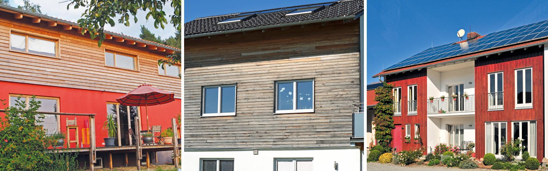 Foto-Collage mit verschiedenen Um- und Anbau Projekte von Brunthaler mit Holzfassaden