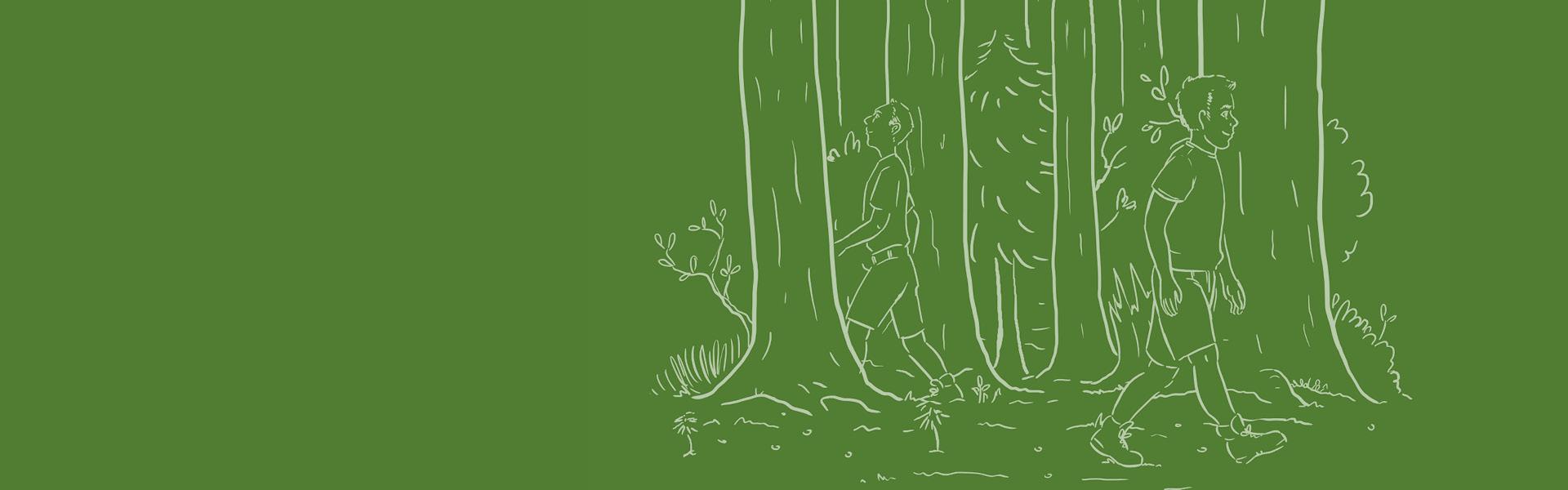 Eine Illustration auf dunkelgrünem Hintergrund mit zwei Brunthaler-Mitarbeitern, die durch den Wald spazieren.