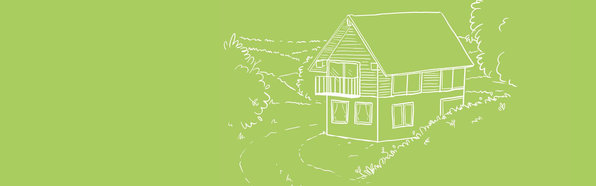 Illustration eines Hauses in der Natur auf hellgrünem Hintergrund