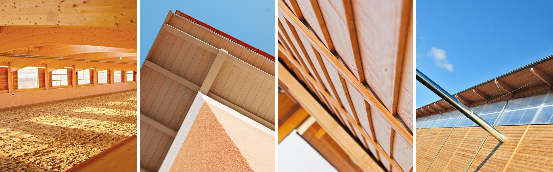 Foto-Collage von einer Pferdereithalle, einem Dach, einer Holzfassade und einer Werkhalle aus Holz