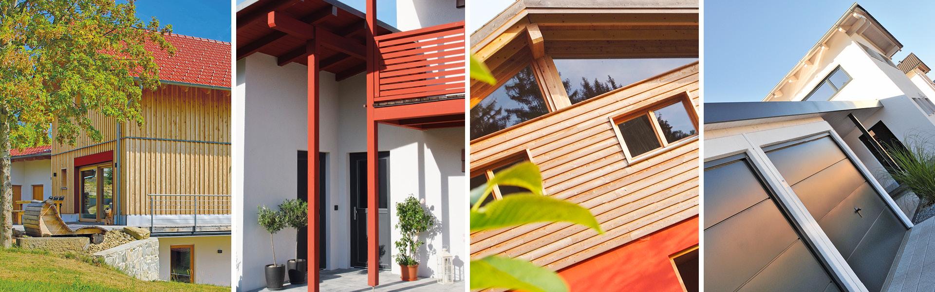 Foto-Collage von Holzhäusern mit Holzfassaden, Holzbalkonen und Garagen