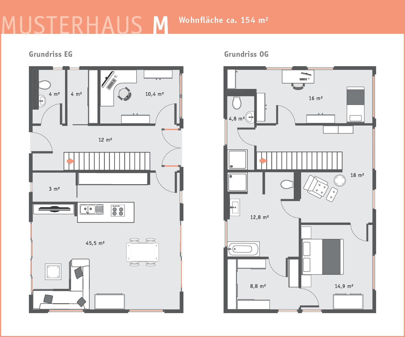Brunthaler Holzhaus Musterhaus M Bauplan