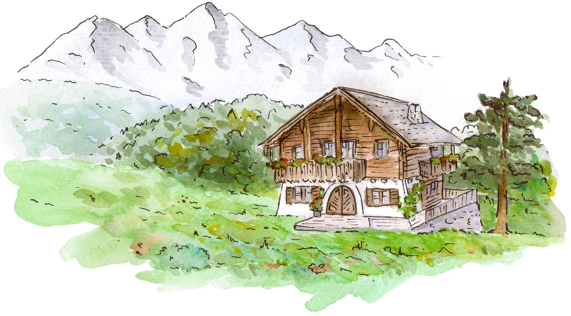 Eine Aquarell-Illustration eines österreichisch-bayerischen, rustikalen Hauses auf einer Wiese mit Blick auf die Alpen