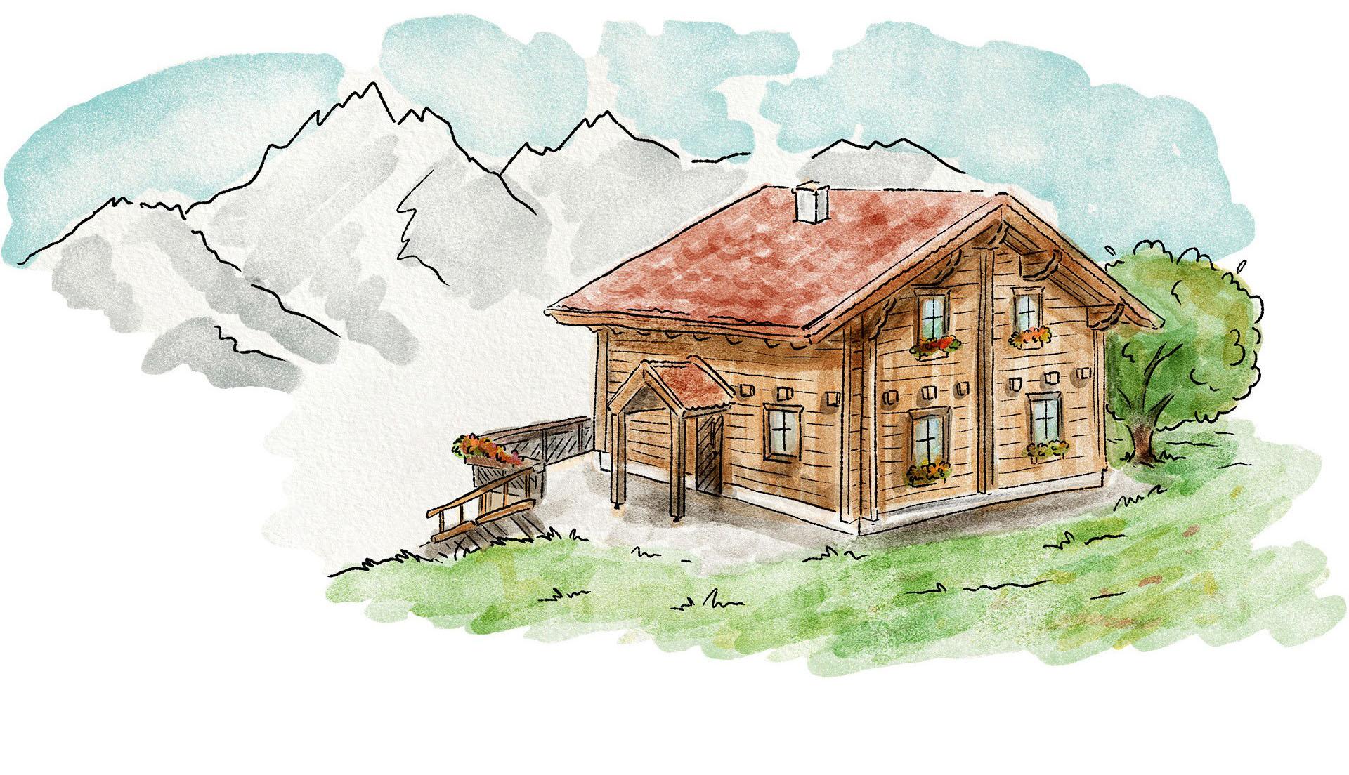 Eine Aquarell-Illustration eines österreichisch-bayerischen Holzhauses mit Terrasse und Blick auf die Alpen