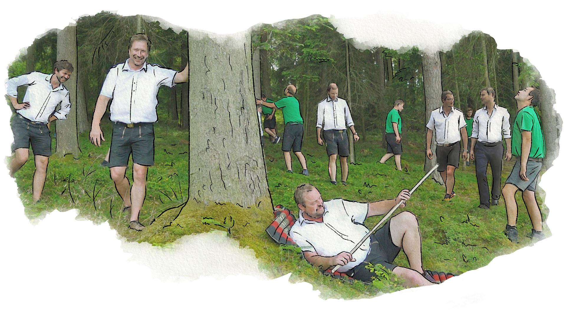 Mitarbeiter der Zimmerei Brunthaler gehen im Wald umher und unterhalten sich
