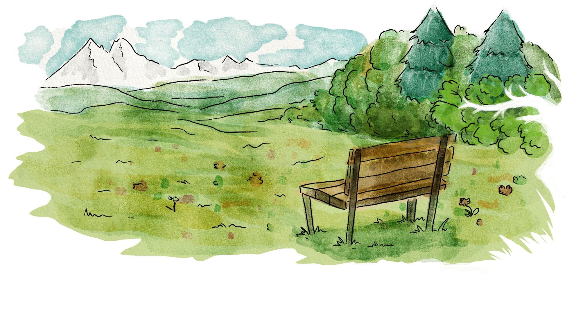 Eine Aquarell-Illustration einer Bank auf einer Wiese in der Nähe eines Waldes mit Sicht auf die Alpen